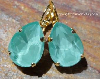 Mint Green Swarovski Crystal Pear Shaped Statement Earrings, Teardrop Crystal Dangle Bridesmaid Earrings, Bridal/Wedding Crystal Jewelry