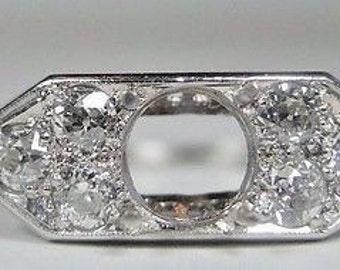 Antique Vintage Ring Diamond Platinum Setting | Will Hold 6.5-7MM Ring | ES-129