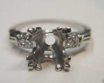 Antique Diamond Platinum Engagement Ring Setting | Will Hold 7.5MM | ES-188