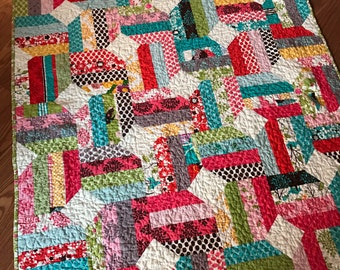 Quilt Funky Colorful Lap Baby Quilt -- pink, green, aqua, red -- MoMo Its a Hoot Fabrics