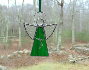 Angel ornament, stained glass suncatcher, green angel with shooting star charm, gift under 20, Christmas angel, Christian faith