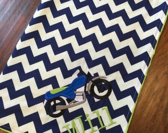 Personalized Baby Blanket-Motorcycle Blanket- Motorcross Blanket - Chevron Blanket- Minky Blanket-