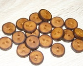 "Small 20 Handmade apple wood Tree Branch Buttons with Bark, accessories (0,75'' diameter x 0,16"" thick)"