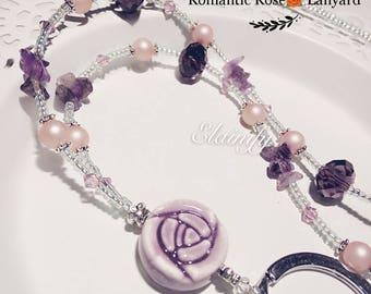 Purple rose lanyard, deep amethyst, purple crystal, beaded ID holder, teacher gift, February birthday