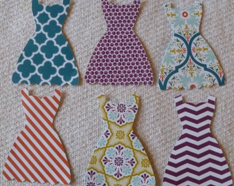 Die Cut Dresses, Retired Sycamore Street Retired Stampin' Up! DSP, 1 Dozen Colorful Papers, Two Sided Paper, Indigo, Razzelberry, Coral +