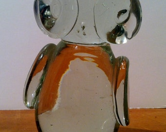 Vintage Mid Century Glass Owl