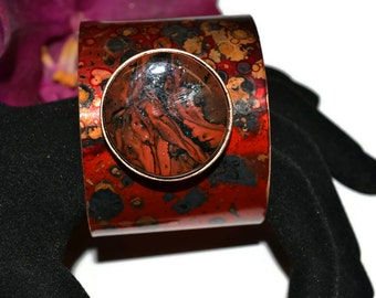 Brass Cuff Bracelet, Fused Glass, Copper Patina, Red and Black, OOAK, Unique Gift, Statement Jewelry