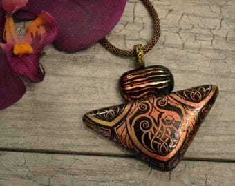 Fused Glass Pendant, Copper Mica, Celtic Design, Statement Necklace, Triangle Necklace, Organic Pendant
