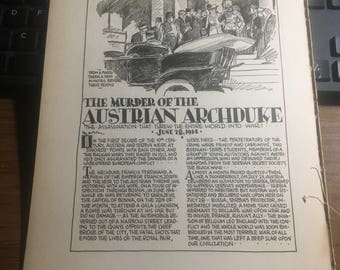 The murder of the Austrian Archduke1914 WWI 1933 book page history print illustration . Art frameable history