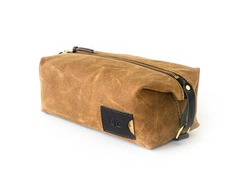 NO. 345 Dopp Kit in Brown Waxed Canvas, Brown or Black Leather, Embossed Monogram, Adjustable Straps, Toiletry Bag for Men, Gift for Him