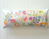 "Extra Long 12""x26"" Lumbar Pillow Cover, Watercolor Floral Pillow Cover, Watercolor Floral Home Decor"
