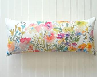 """Extra Long 12""""x26"""" Lumbar Pillow Cover, Watercolor Floral Pillow Cover, Watercolor Floral Home Decor"""