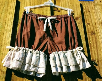 On Sale Chocolate bloomers with double wide ruffles size Small Medium Ready to ship