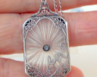 Vintage Camphor Glass, Diamond Necklace, Sterling Silver, Edwardian Fantasy, Circa 1920's Art Deco Necklace,Victorian Style,Antique Necklace