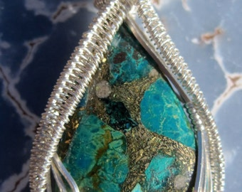 Sleeping Beauty/Turquoise, Iron Pyrite, and Sterling Silver Wire Wrap Pendant, One of a Kind, Handmade, Art