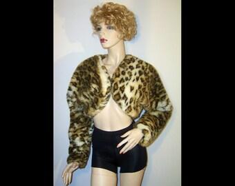 Fluffy chubby leopard print faux fur bolero jacket ~ Small Medium ~ caramel brown black cream ~ short crop coat ~ black satin lining ~ wrap