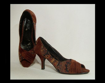 Rust brown suede high heels shoes ~ size 5 ~ 35 ~ Ananas sparkly paisley gypsy pumps ~ black tapestry ~ ruched leather