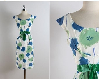 30% SALE Vintage 50s dress | Miss Brooks vintage 1950s dress | floral dress medium | 5763