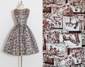 Vintage 50s Dress | 1950s novelty print dress | colonial child's play print | xs/s | 5891