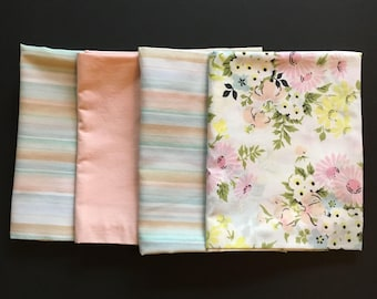 4 Vtg Pillowcases - Stripe Solid and Floral Remix Bundle in Peach White Pink Blue