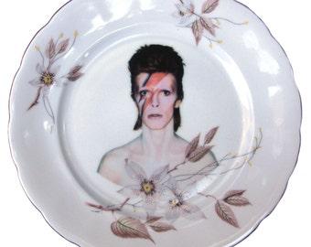"David Bowie Portrait Plate - Altered Vintage Plate 7.5"""