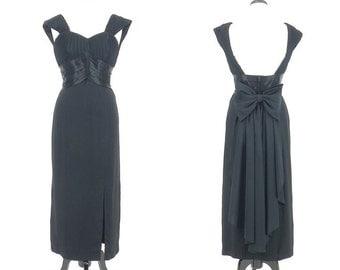 Vintage 1980s 90s Evening Dress, Open Back Dress, Black Formal Dress, Sweetheart Dress