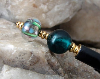 Malachite Green Lampwork Glass Japanese Hair Stick Dark Green Geisha Hair Sticks Oriental Hairstick Kanzashi Hair Pins Hair Chopsticks Maeva