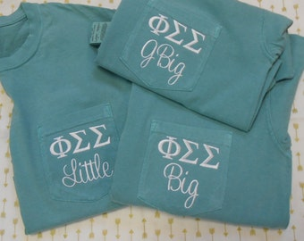 Comfort Colors Adult  Short Sleeve Pocket  Shirt with Your  Greek letters  and  Big, Little, or GBig