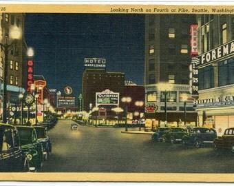 Fourth Avenue at Night Seattle Washington linen postcard
