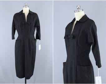 Vintage 1950s Dress / 1940s Day Dress / New Look 50s Dress / Black Dress / Poinette Fashions LBD / Size XS 0 2 4