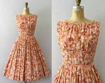 Vintage 1950s Dress - 50s Floral Cotton Sundress