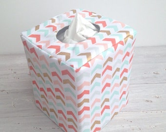 Coral , mint, and gold arrow chevron tissue box cover