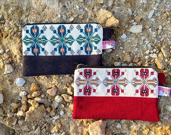 A hand embroidered Palestinian make up purse