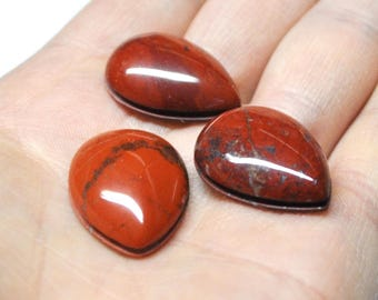 Red Jasper Grooved Tear Drop Cabochons Natural Gemstone Macrame Micromacramé Supply - 3 pcs Parcel - 25.0 x 18.0 mm - 66.8 ct - 170424-16