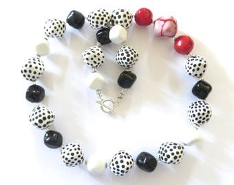 Kazuri Bead Necklace, Fair Trade Beads, Black White and Red Ceramic Necklace, Statement Necklace