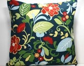 18 x 18 inch Decorative Throw Pillow Cover - Floral on Navy Blue Indoor / Outdoor Fabric - Invisible Zipper Closure