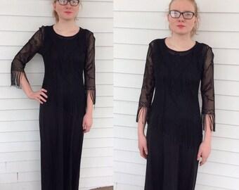 Black Boho Dress Maxi 70s Fringe Top Vintage XS S Long