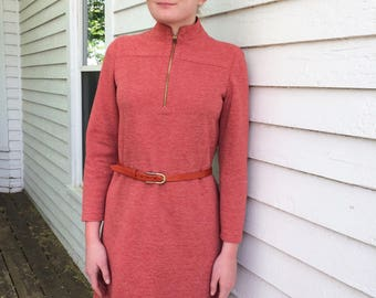 60s Red Wool Dress Vintage 1960s Mod Retro Long Sleeve M 38 Bust