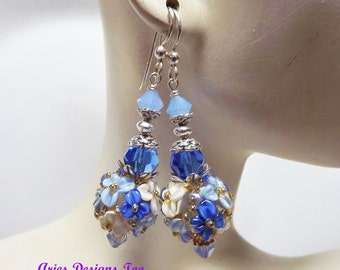 Blue and Cream Floral Lampwork Earrings. Floral Lampwork Earrings in Shades of Sapphire, Cream and Light Blue