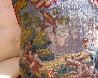 "Antique DOGS Needlepoint Petit Point Handwork 14.5 x 18"" Pillow Cover Castle Brilliant!"