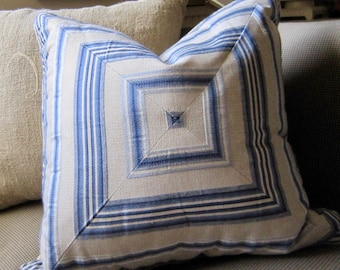 SALE BLUE Linen Mitered KRAVET 20 x 20 Pillow Cover Piping Beige Woven Back