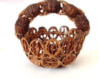 Old Folkart Basket Made from Walnuts