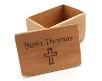 Keepsake Rosary Box, Baptism, or First Communion Gift - Wood Box with Cross & Custom Name Engraving - Black Cherry Wood - Made in the USA!