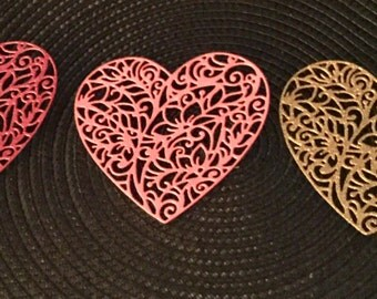 Heart Die Cuts - Glittered and Bazzill Bling - Set of 5
