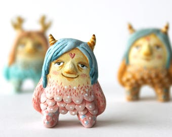 Monster art - OOAK Miniature wild thing-  Paper clay figurine - Maurice Sendak inspired