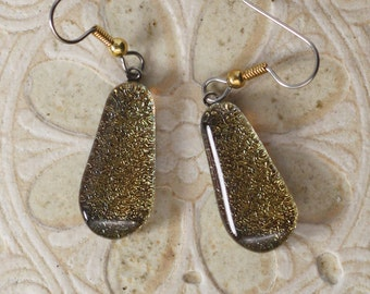 Dichroic Glass Earrings, Smokey Bronze  DGE - 878