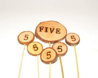 5th Birthday Wood Cake Topper ~ Fifth anniversary ~ Unique Wood cake Topper ~ Number Cake Toppers ~ Woodland Birthday Party ~ Five years old