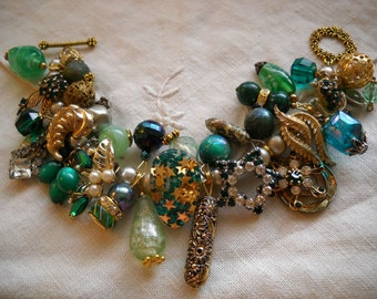 Chunky Green Charm Bracelet Reworked Vintage Earrings Beads Rhinestones FREE SHIPPING