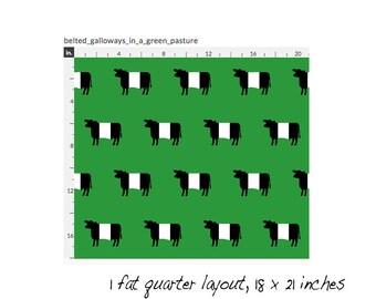 Belted Galloways in a Green Field Cotton Fat Quarter - Original Fabric Design by SBMathieu