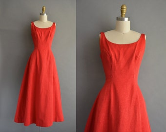 50s ruby red grosgrain vintage holiday party Christmas dress. vintage 1950s dress